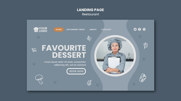 Modèle de page de destination d'annonce de restaurant