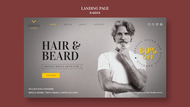 Modèle de page de destination d'annonce de salon de coiffure