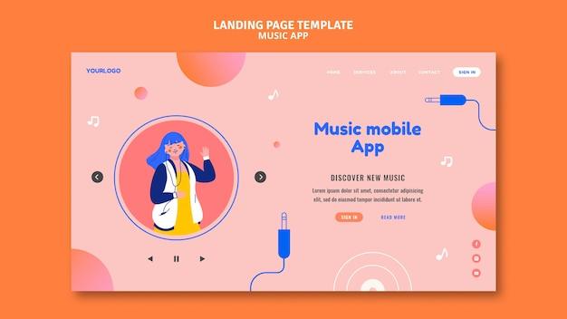 Modèle de page de destination d'application mobile de musique