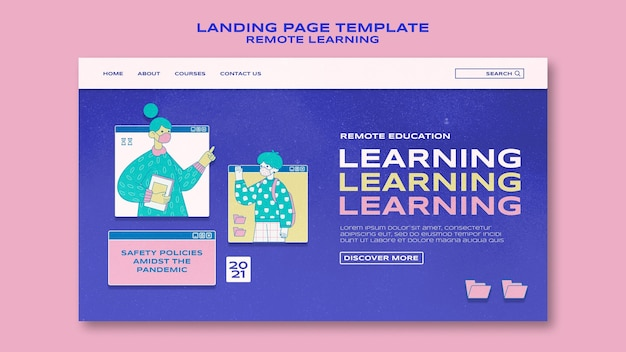 Modèle de page de destination d'apprentissage à distance