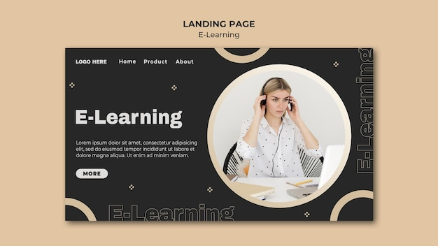 Modèle de page de destination d'apprentissage en ligne avec photo