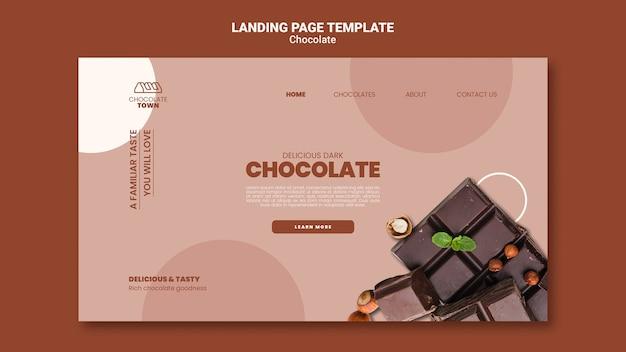 Modèle de page de destination au chocolat délicieux