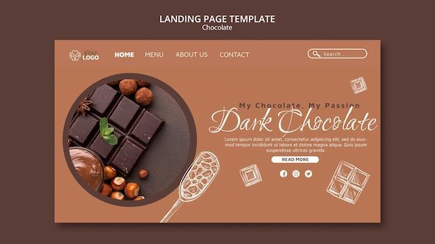 Modèle de page de destination au chocolat noir
