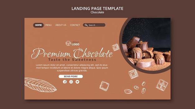 Modèle de page de destination au chocolat premium