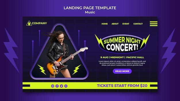 Modèle de page de destination au néon pour le concert de nuit d'été