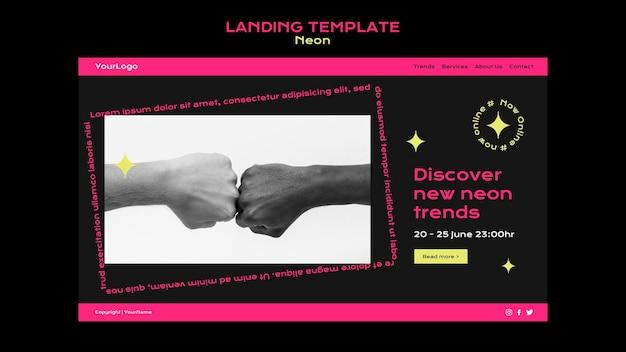 Modèle de page de destination au néon pour les nouvelles tendances en ligne