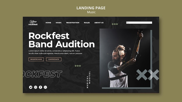 Modèle de page de destination d'audition de groupe rockfest