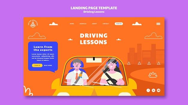 Modèle de page de destination d'auto-école illustré