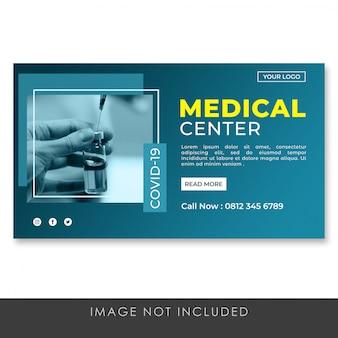 Modèle de page de destination de bannière de centre médical premium psd