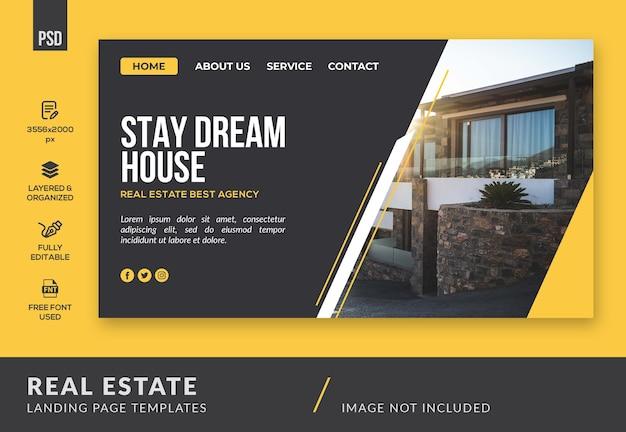 Modèle de page de destination de bannière immobilière