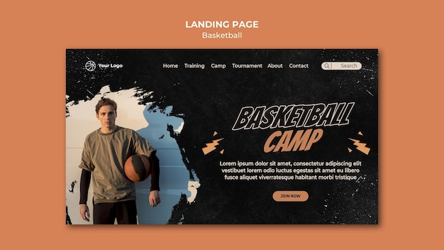 Modèle de page de destination de basket-ball
