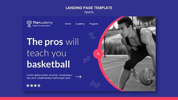 Modèle de page de destination de basket-ball