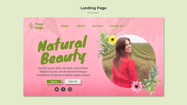Modèle de page de destination de beauté naturelle