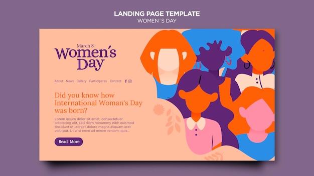Modèle de page de destination de la belle journée des femmes