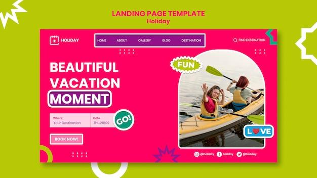 Modèle de page de destination de belles vacances