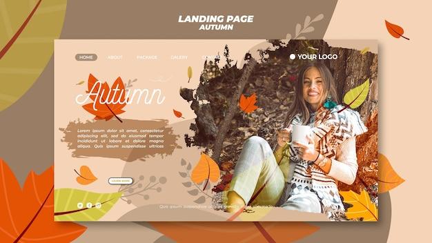 Modèle de page de destination avec bienvenue à la saison d'automne