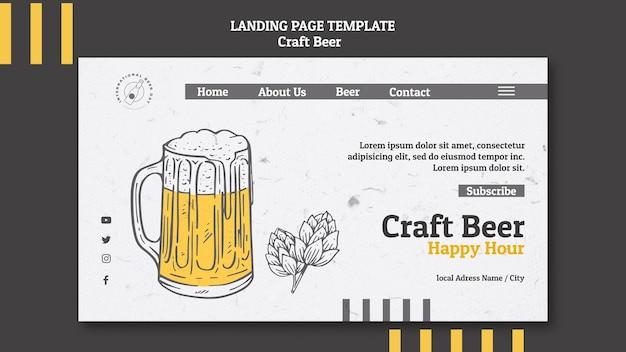 Modèle de page de destination de bière artisanale happy hour