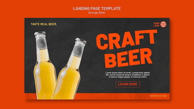 Modèle de page de destination de bière grunge
