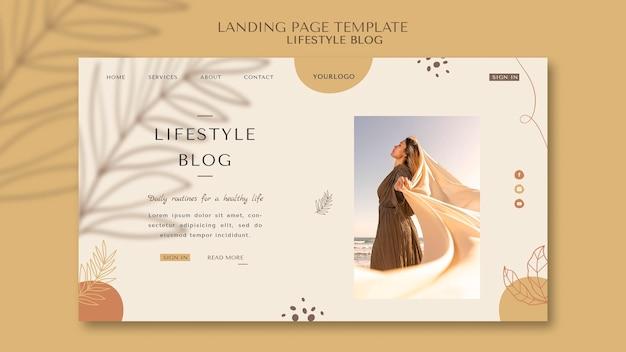 Modèle de page de destination de blog de style de vie