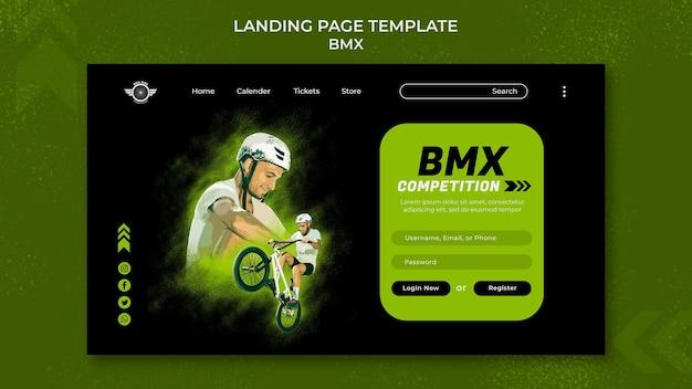 Modèle de page de destination bmx avec photo