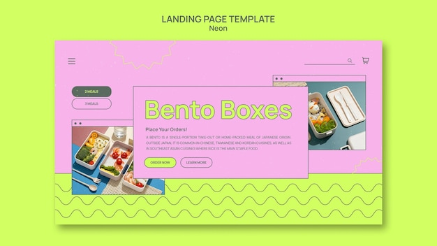 Modèle de page de destination de boîte à bento néon