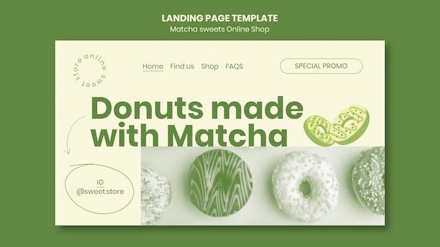 Modèle de page de destination de bonbons au matcha