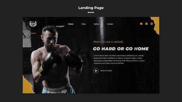 Modèle de page de destination de boxe