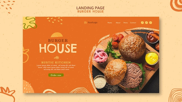 Modèle de page de destination burger house