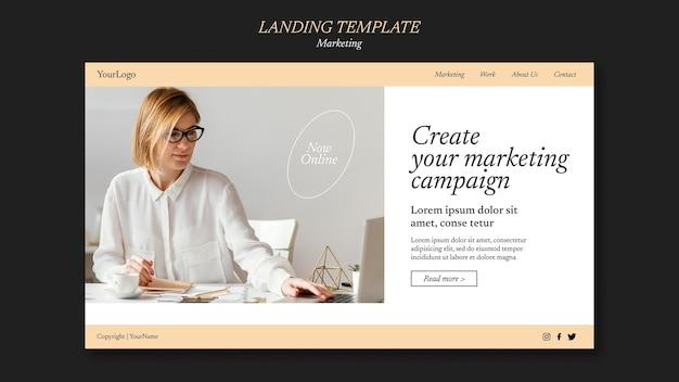 Modèle de page de destination de campagne marketing