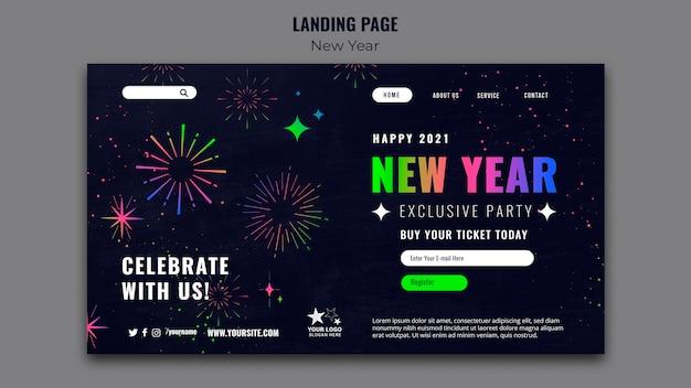 Modèle de page de destination de célébration du nouvel an