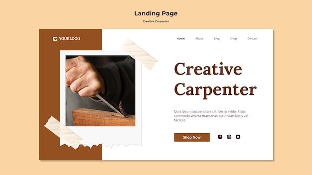 Modèle de page de destination de charpentier créatif