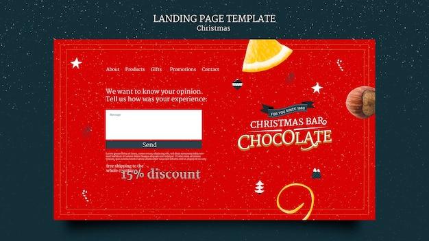 Modèle de page de destination de chocolat de noël