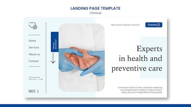 Modèle de page de destination clinique avec photo