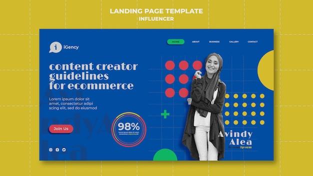 Modèle de page de destination colorée d'influenceur