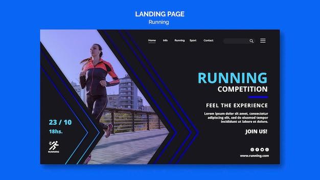 Modèle de page de destination de compétition en cours d'exécution