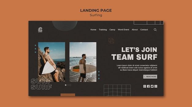 Modèle de page de destination de compétition de surf