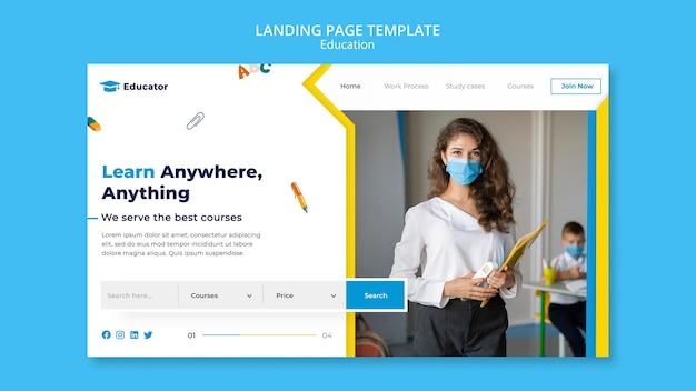 Modèle de page de destination de concept d'apprentissage
