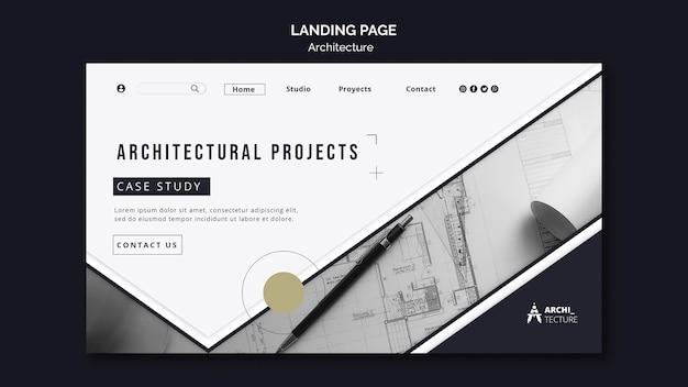 Modèle de page de destination de concept d'architecture
