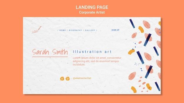 Modèle de page de destination de concept d'artiste d'entreprise