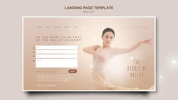 Modèle de page de destination de concept de ballerine