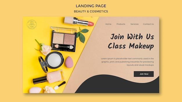 Modèle de page de destination de concept de beauté et de cosmétiques