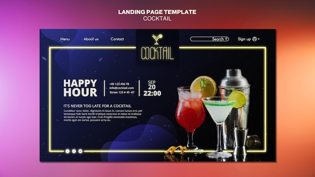 Modèle de page de destination de concept de cocktail