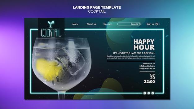 Modèle De Page De Destination De Concept De Cocktail PSD Premium