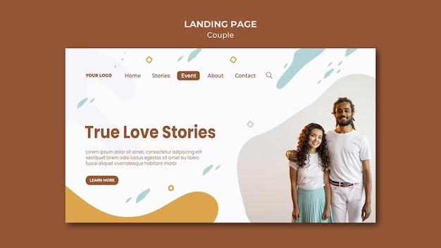 Modèle de page de destination de concept de couple