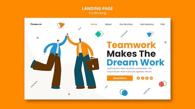 Modèle de page de destination de concept de coworking
