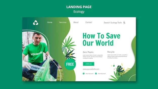 Modèle de page de destination de concept d'écologie