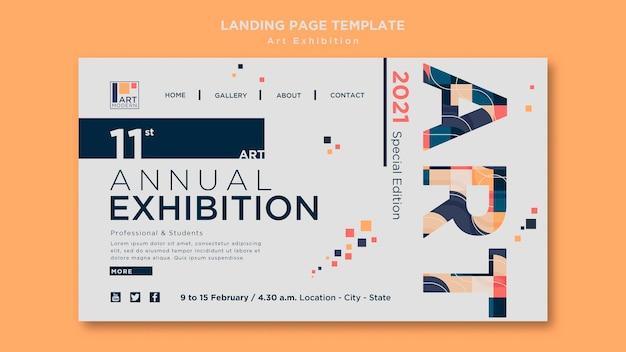 Modèle de page de destination de concept d'exposition d'art