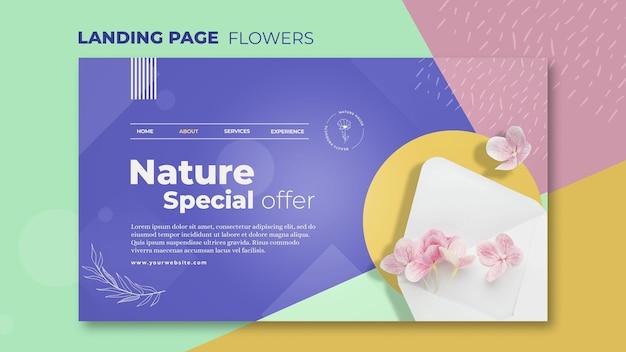 Modèle de page de destination de concept de fleur