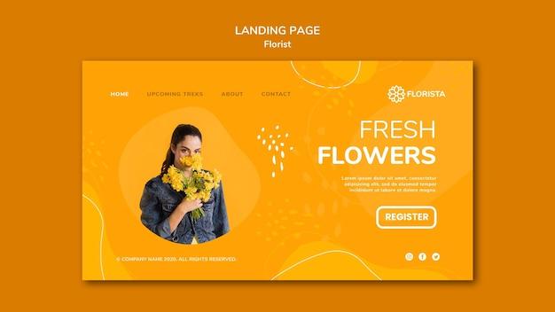Modèle de page de destination de concept de fleuriste