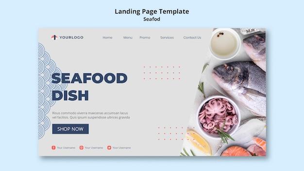 Modèle de page de destination de concept de fruits de mer